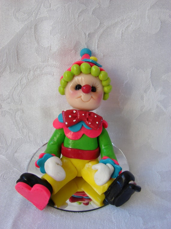 Personalized Clown Polymer Clay Birthday Cake Topper/Ornament/Figurine.  A hand crafted art sculpture.