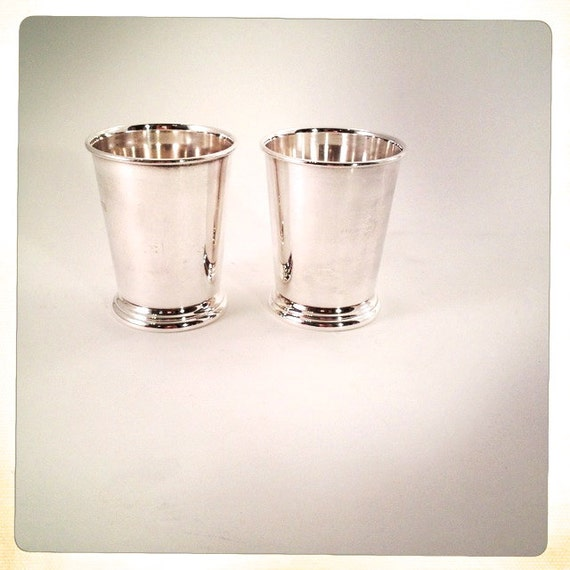 vintage silver mint julep cups trophy pair of 2