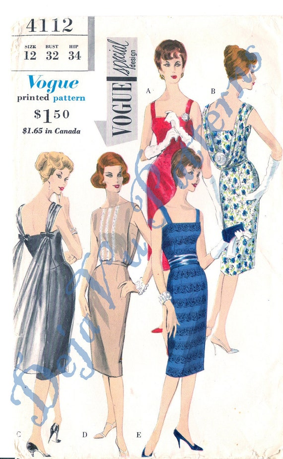 Vogue 4112 Vintage 1960s Back Draped Dress, Overblouse and Cummerbund Sewing Pattern Size 12