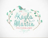 Logo Design whimsical watercolor tree and bird design for photographer, photography, small business