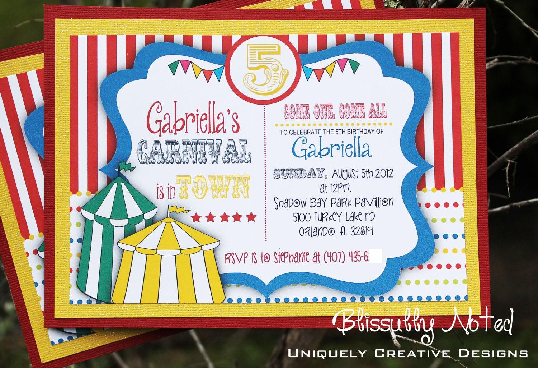25 carnival circus invitations