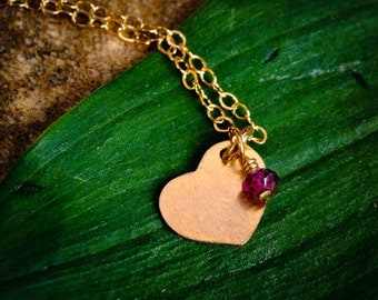 Tiny Gold Heart Necklace with Garnet - Dainty Gold Filled Sideways Heart With Birthstone