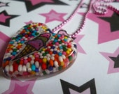 Triple - Ice Cream Cone - Heart Resin Necklace
