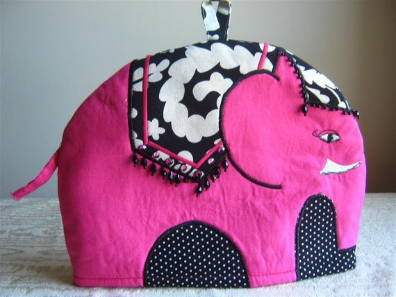 Rosie- an Embroidered Cotton Elephant Tea Cosy