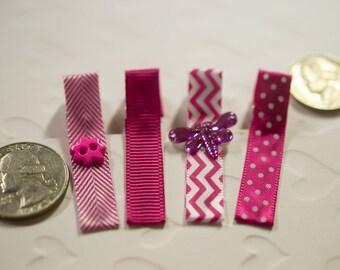 Set of 4 Pink Basic Hair Clips-Infant Girl-Toddler Girl