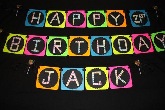 Neon Rave Birthday Banner