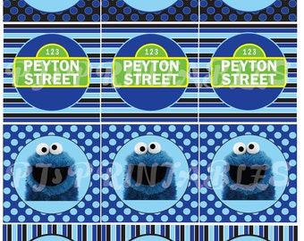 Cookie Monster & Sesame Street inspired Cupcake Toppers- Customized Digital File