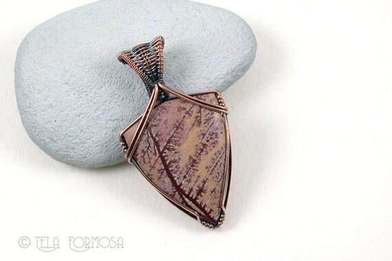 Burgundy Peach, Sonora Dendritic Rhyolite Pendant, NEW and RARE Stone, Wire Wrap Pendant, Copper Wire Wrap, Weave Woven Wire Stone Pendant