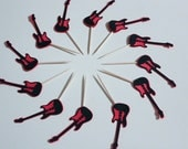 12 Red/Black Guitar Cupcake Toppers
