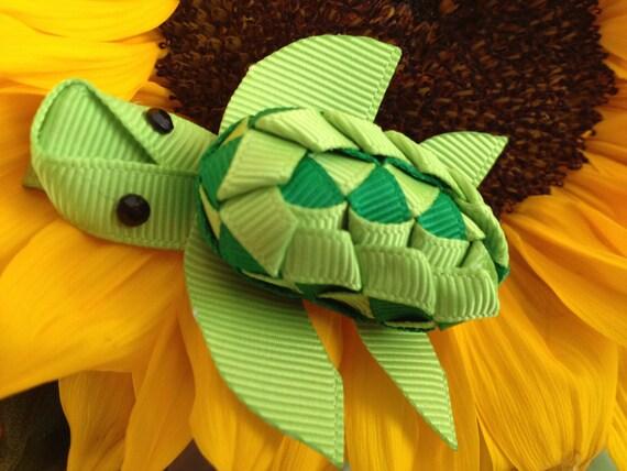 Green Sea Turtle Ribbon Hair Clip, Hairclip, Hair Bow, Hair Accessory, Ribbon Sculpture