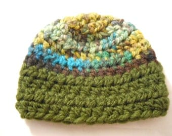 Green and Brown Doll Beanie