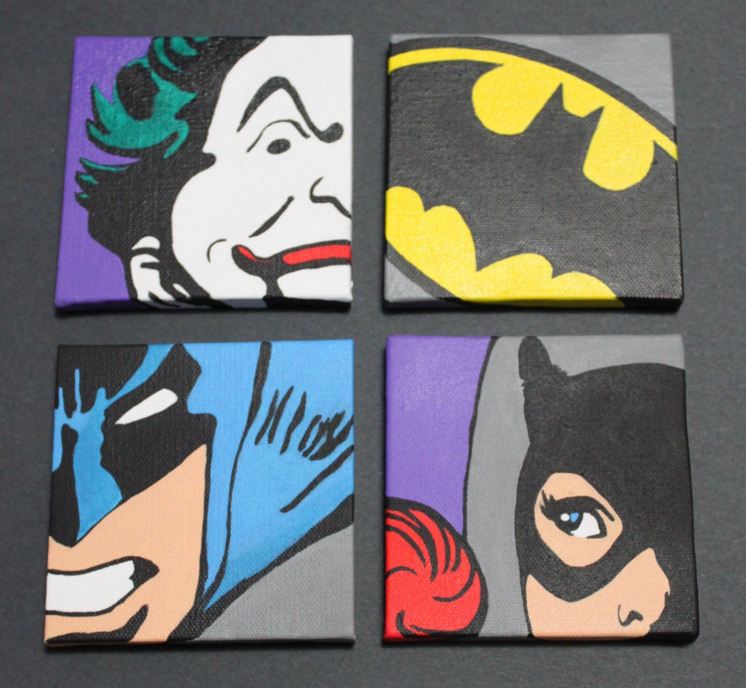 Items similar to classic batman set of 4 12x12 wall art for Pop wall art