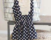 Blueberries and Cream Polka Dot Dress. SIZE 3 TODDLER