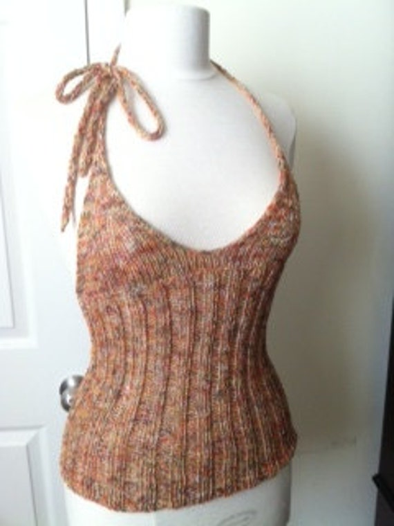 SPRING SALE Multicolor Halter Top - Hand Knitted Limited Edition