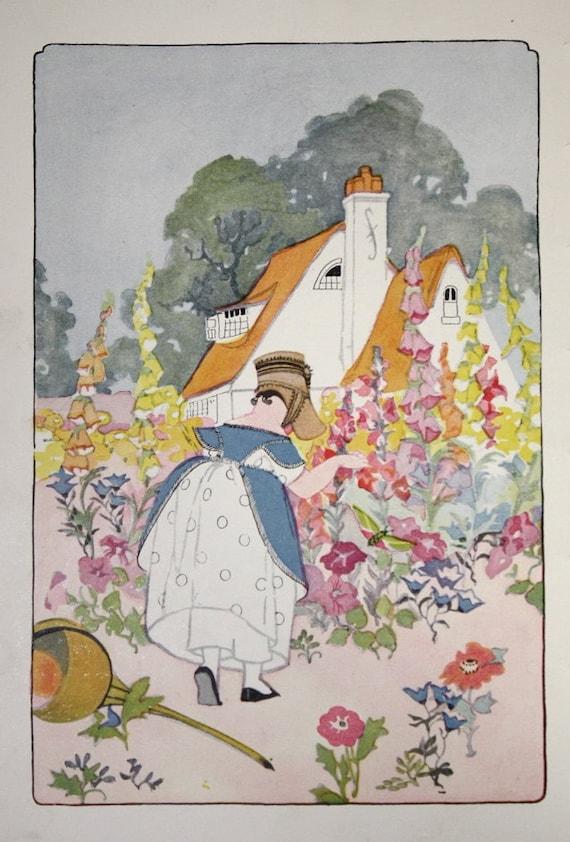 Vintage Antique 1920s Childrens Book Page Illustration Little
