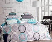 1100TC Sateen Aqua Blue & Charcoal Gray Ring Queen Duvet Cover Set