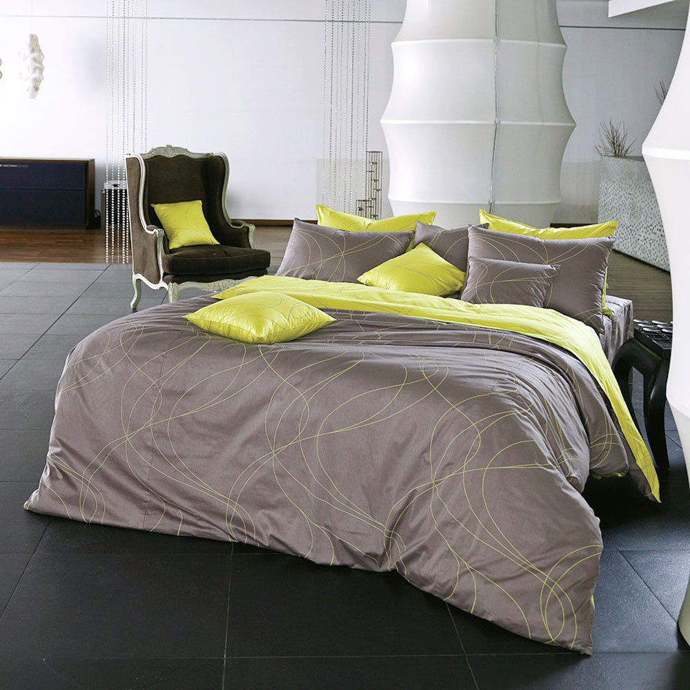 820tc Grayish Brown Lime Yellow King Duvet Cover Set By