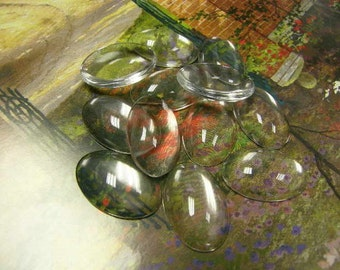 50 Glass Cabochons Oval 18mm x 25mm