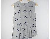 SALE Hand printed  linen top with peplum