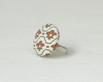 Aztec Button Ring, Fabric Covered Button, stocking filler stuffer