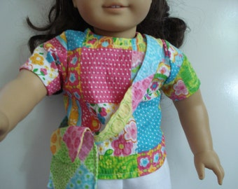 """18"""" Doll Clothes 3 piece outfit top skirt shorts purse DYD015"""