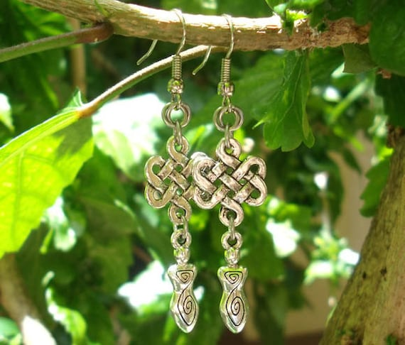 Celtic Goddess Earrings with Chainmail Rosettes