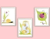 Nursery Art Print Childrens Room Decor Kid Wall Art Garden Three 8 x 10 collage prints In The Garden Series