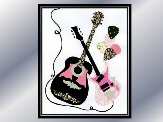 Pink Black Wall Decor : Items similar to baby nursery guitar wall art pink