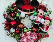 Christmas Disney Wreath Santa Mickey and Minnie