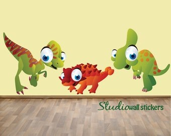 REUSABLE Dinosaur Wall Decals Childrens Fabric Wall Decals