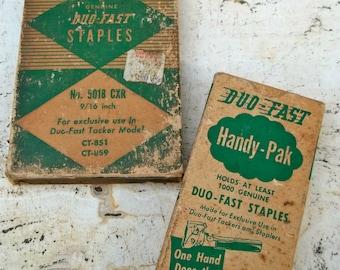 Antique Vintage Staple Gun Boxes of Staples