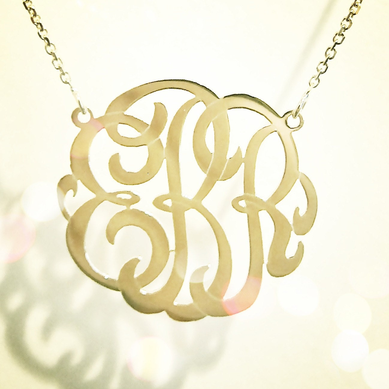 small 14k gold monogram necklace yellow rose or white gold