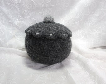 Shades of Gray Wool Felted Bowl/container with lid/topper and light gray needle felted polka dot design
