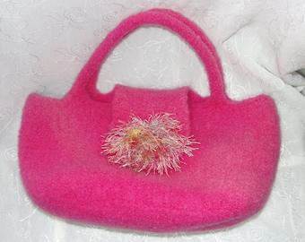 Wool Felted Purse/Handbag knit in Hot Pink