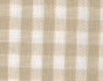 """Fabric by the Yard 1/8"""" Gingham, 60"""" wide, 100% Cotton, Khaki, 1 yards, Fabric Finders"""