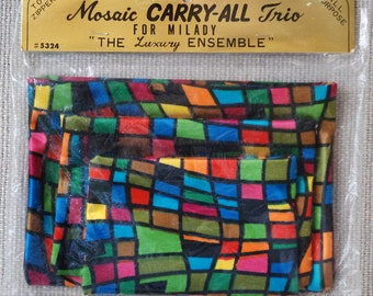 Vintage Mosaic Carry-All  Trio  For Milady Made In Japan
