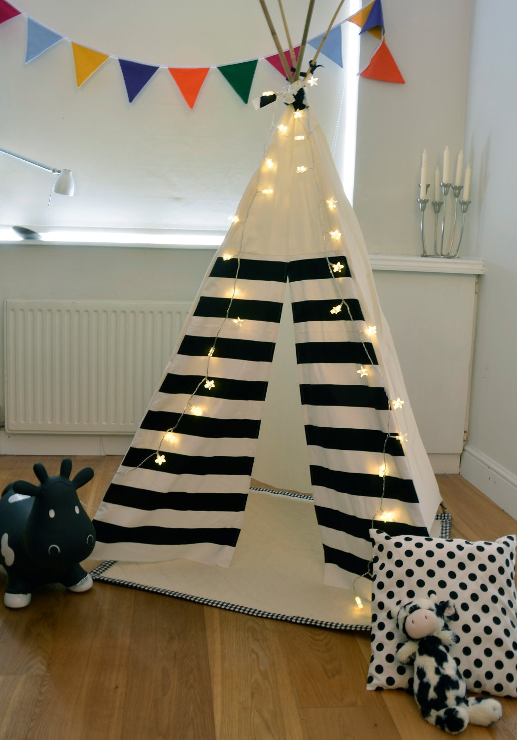 Teepee Play Tent Tipi Black And White Monochrome By