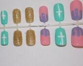 Pastel Crucifix, Gold, Rainbow Glitter