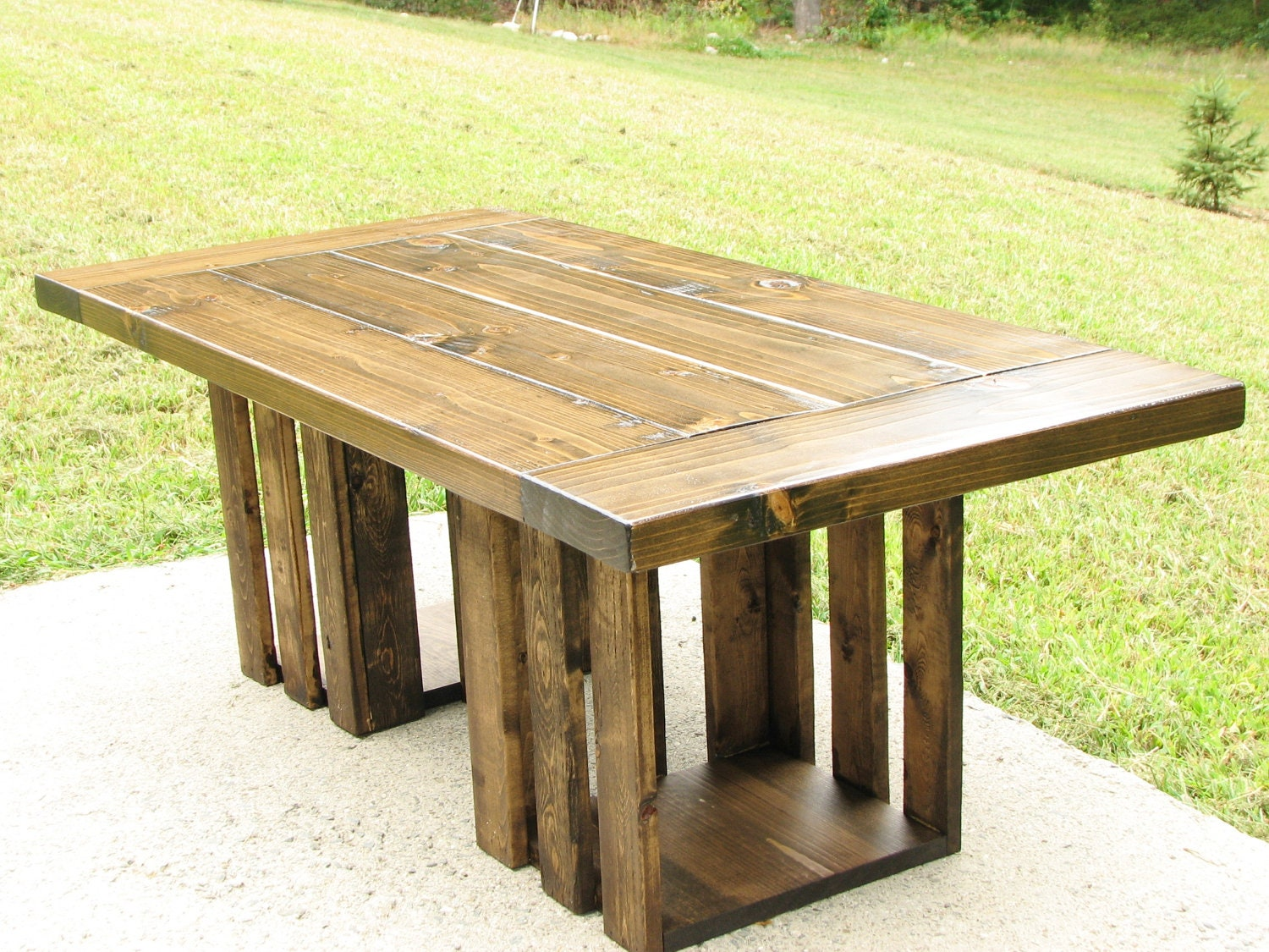 Coffee table free shipping rustic crate storage country for Crate style coffee table