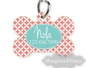 Pet ID Tag Pet Tag Dog Personalized Pet Tag  name Coral and Teal