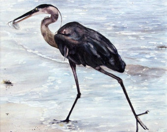 ACEO Fine Art Print / From Original Watercolor / Of a Great Blue Heron / Size 2.5x3.5 inches