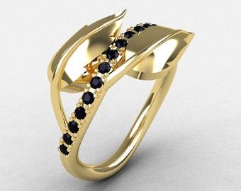 10K Yellow Gold Black Diamond Leaf and Vine Wedding Ring, Engagement Ring NN113-10KYGBD