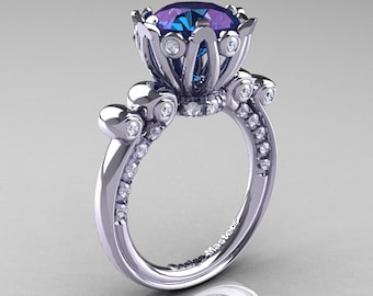 French Antique 14K White Gold 3.0 CT Alexandrite Diamond Solitaire Wedding Ring Y235-14KWGDAL