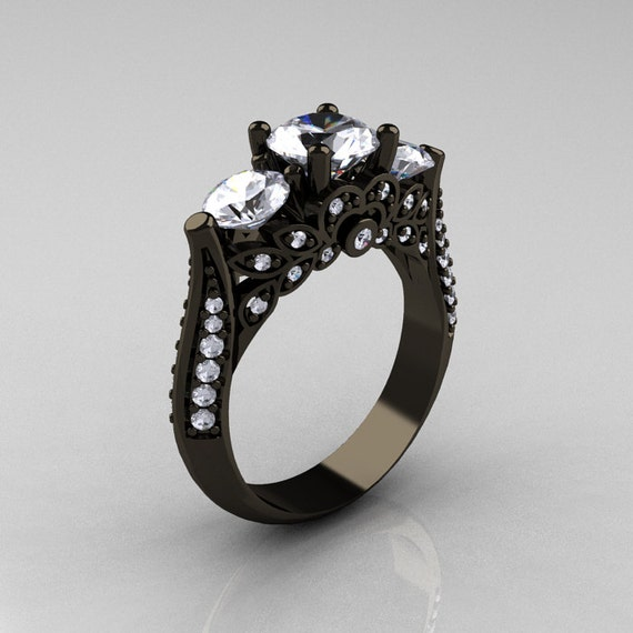 black stone gold ring - photo #41