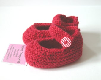 Hand Knitted Red Cotton Baby Booties  ( Mary Jane)