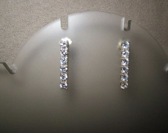 Vintage Sterling Silver Pierced Dangle Earrings with Cubic Zirconia