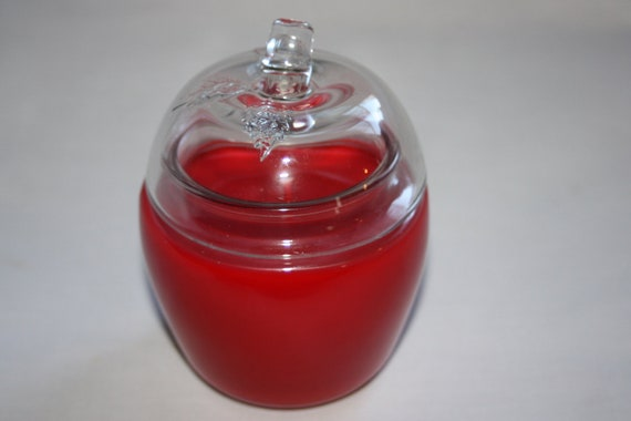 Glass Apple Shaped Candle in Red,  Highly Scented Jar Candle, Perfect Teach Gift
