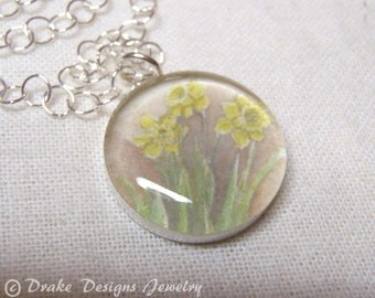 March Birth Flower... Daffodil Sterling Silver... Watercolor Necklace with Meaning Card