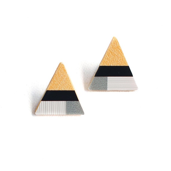 Geometric Triangle Earrings-Multicolor-Handcut-One of a kind