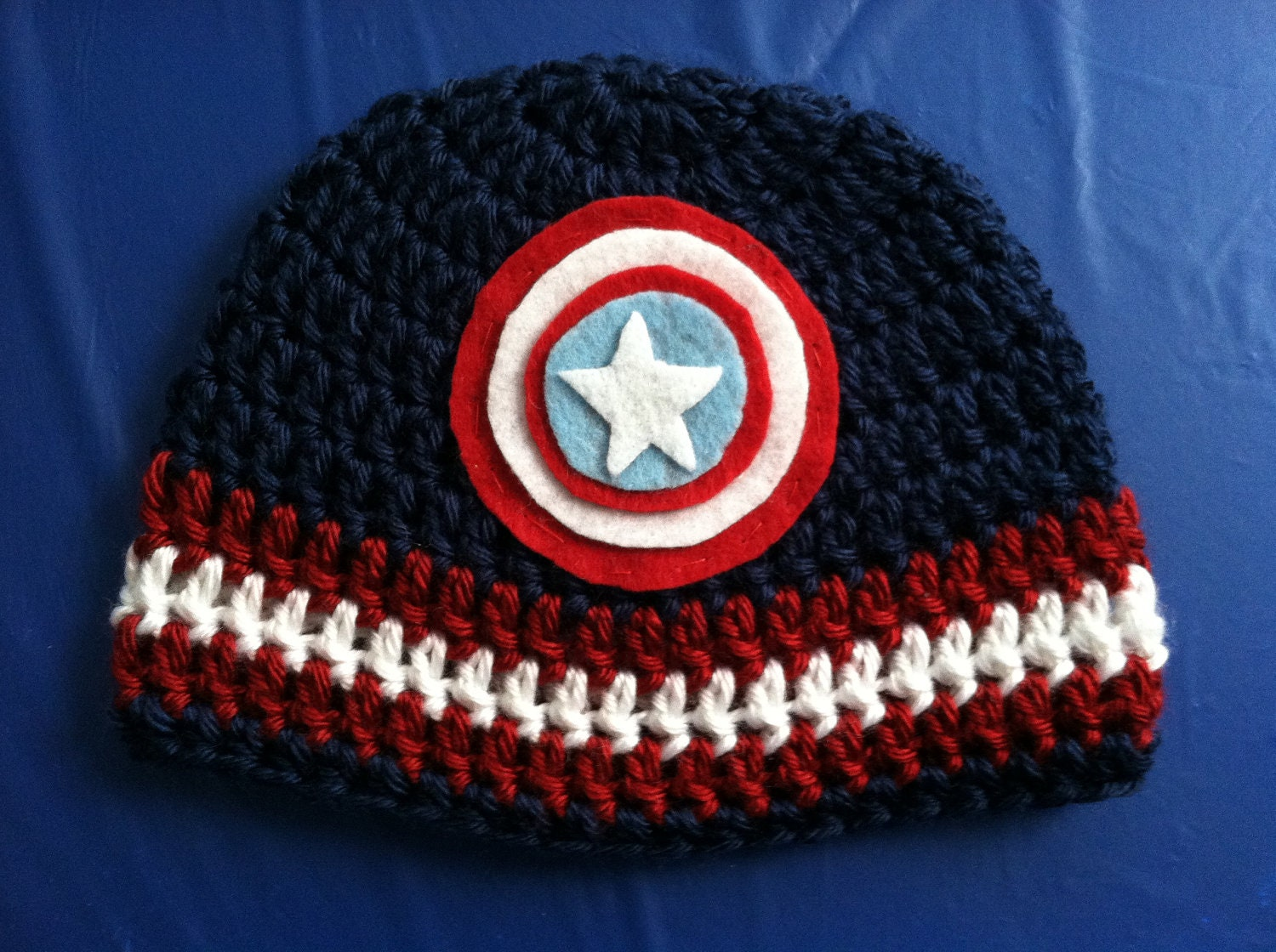 Captain America Knitting Pattern : Captain America Super Hero Crochet Baby Hat